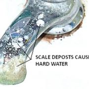 Hard water scale on faucet
